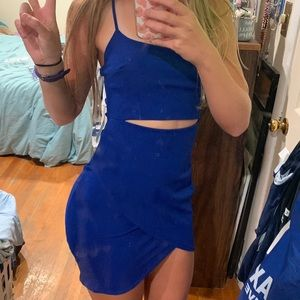 Lulus blue bodycon dress with middle cutout